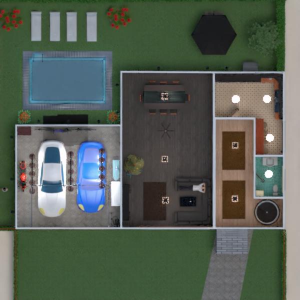 floorplans haus terrasse mobiliar badezimmer küche 3d