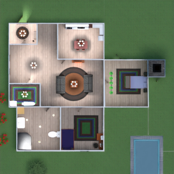floorplans bedroom living room kitchen dining room 3d