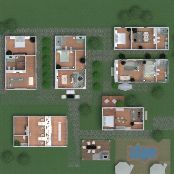 floorplans apartment house terrace bedroom living room kitchen kids room architecture 3d