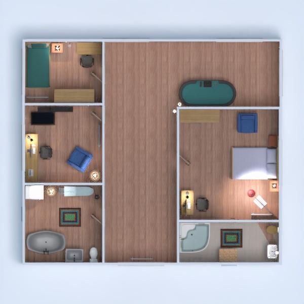 floorplans maison meubles chambre à coucher salon salle à manger 3d