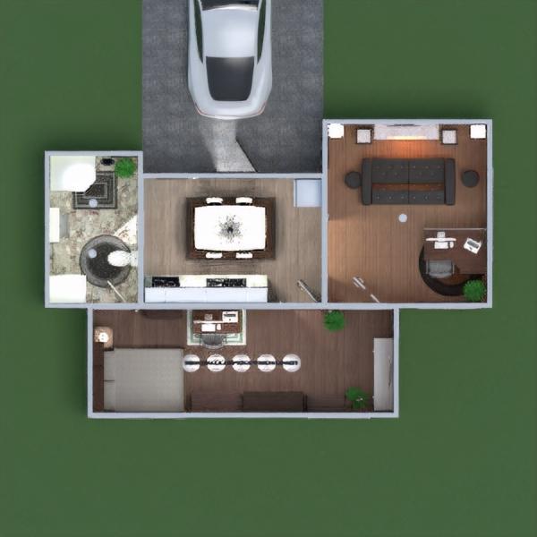 floorplans butas baldai vonia miegamasis svetainė virtuvė biuras apšvietimas valgomasis 3d