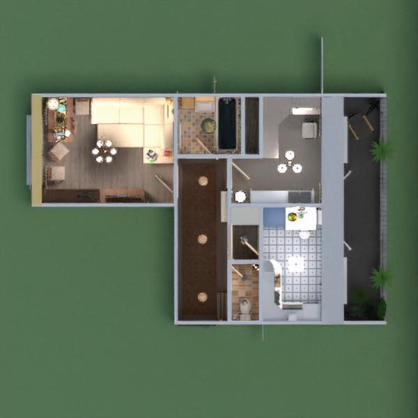 floorplans wohnung mobiliar do-it-yourself badezimmer wohnzimmer küche lagerraum, abstellraum eingang 3d