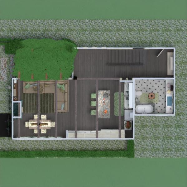 floorplans casa varanda inferior mobílias casa de banho dormitório quarto cozinha área externa iluminação sala de jantar arquitetura 3d