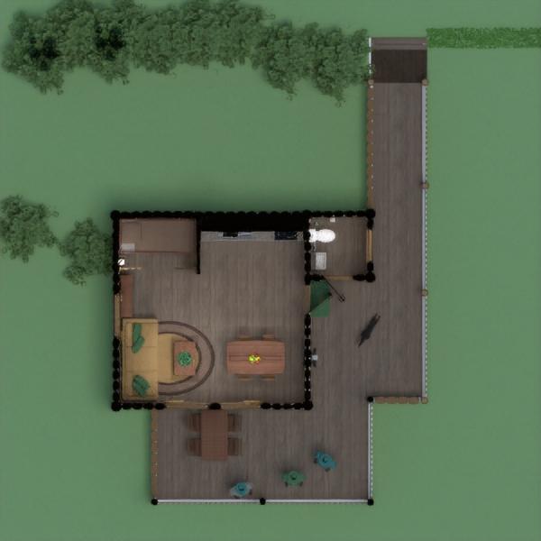 floorplans casa varanda inferior quarto cozinha área externa paisagismo arquitetura patamar 3d