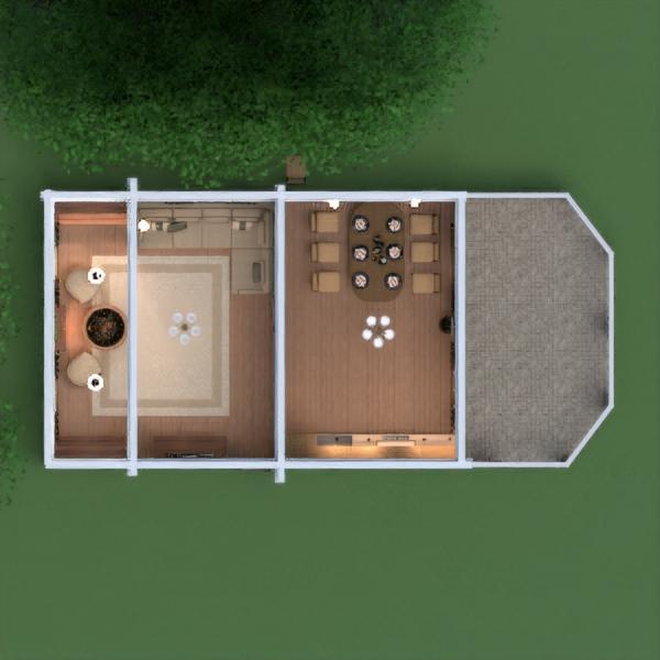 floorplans casa varanda inferior mobílias decoração quarto cozinha sala de jantar 3d