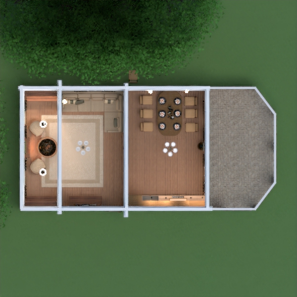 floorplans casa terraza muebles decoración salón cocina comedor 3d