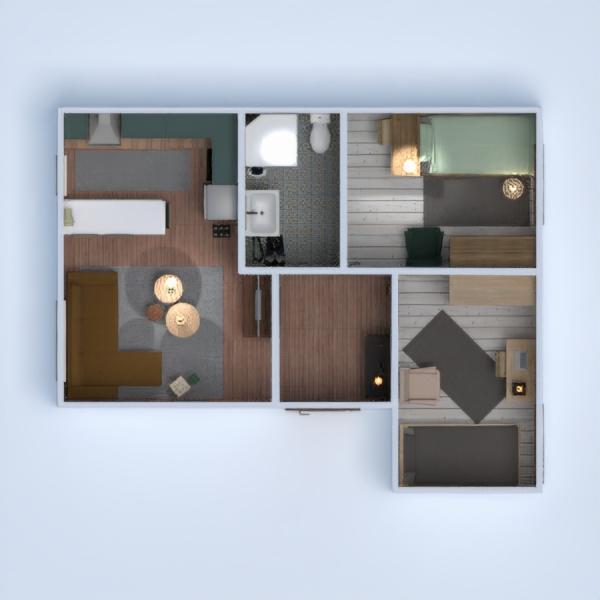 floorplans butas namas baldai vonia miegamasis svetainė virtuvė apšvietimas studija 3d