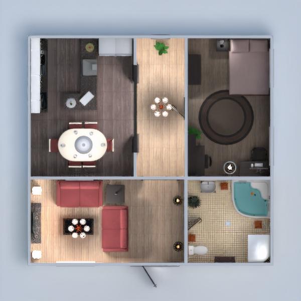 floorplans apartamento casa mobílias casa de banho dormitório quarto cozinha utensílios domésticos sala de jantar 3d