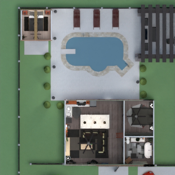 floorplans casa cuarto de baño dormitorio salón cocina exterior 3d