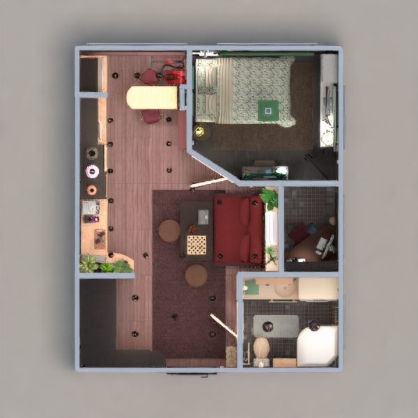 floorplans apartamento dormitorio salón estudio 3d