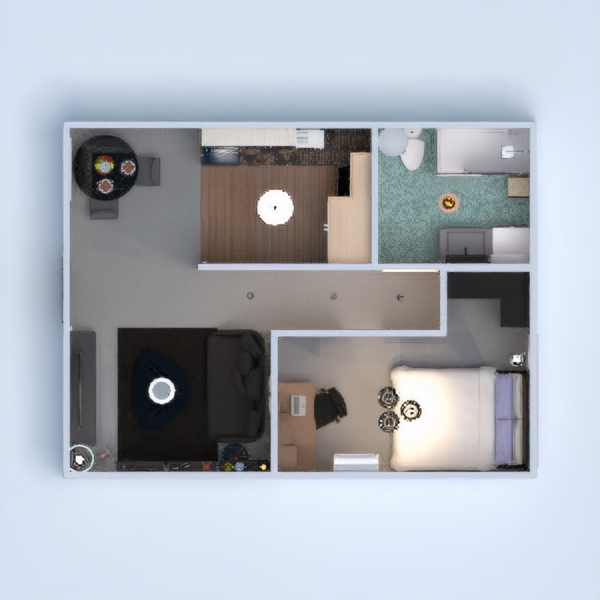 планировки квартира спальня гостиная столовая 3d