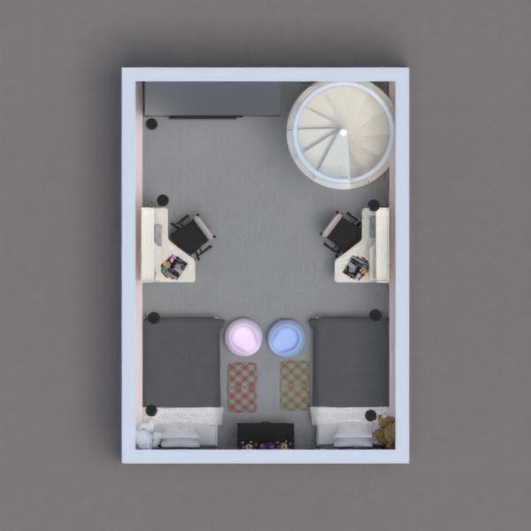 floorplans apartment furniture decor bedroom kids room 3d