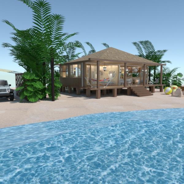floorplans casa dormitorio salón exterior paisaje 3d