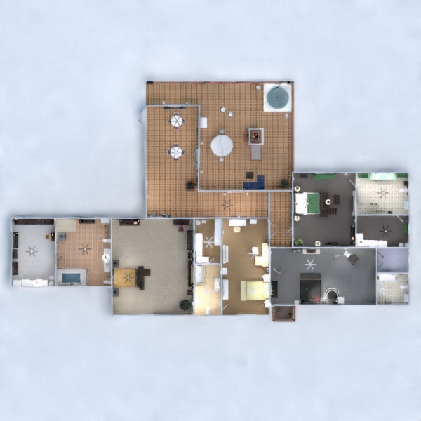floorplans namas garažas virtuvė valgomasis 3d