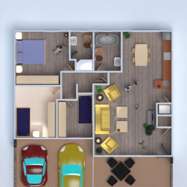 floorplans apartamento dormitorio cocina habitación infantil 3d