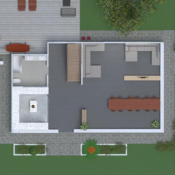 floorplans haus mobiliar wohnzimmer küche outdoor 3d