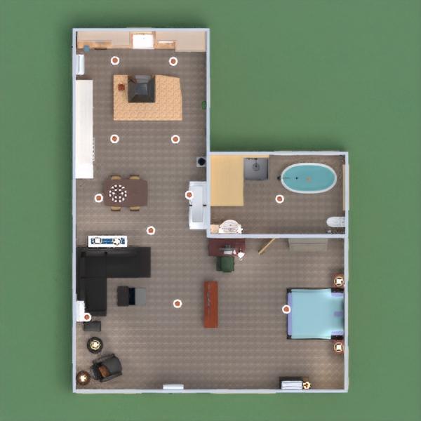 floorplans baldai vonia miegamasis svetainė studija 3d