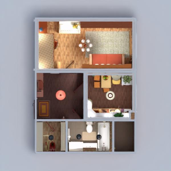 floorplans wohnung wohnzimmer küche lagerraum, abstellraum eingang 3d