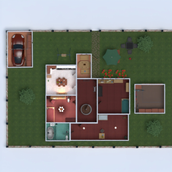 floorplans casa camera da letto garage cucina esterno 3d