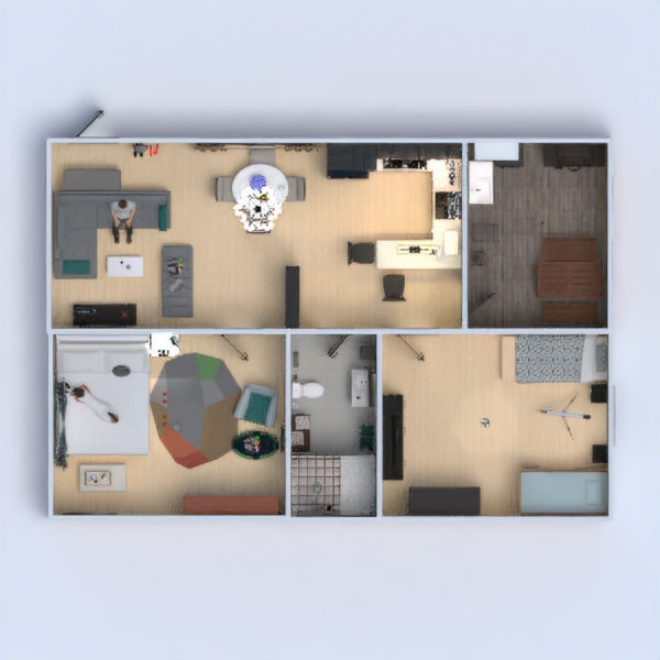 floorplans appartamento saggiorno cucina 3d