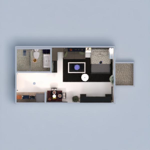 floorplans apartamento terraza decoración dormitorio cocina estudio 3d