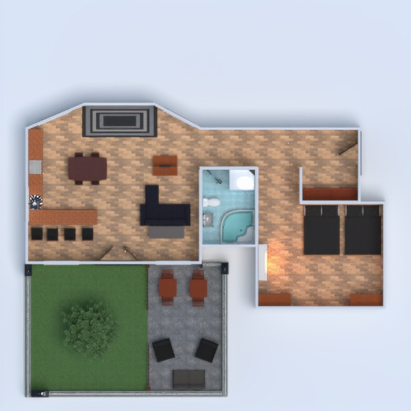 floorplans apartment terrace furniture decor bathroom bedroom living room kitchen outdoor lighting household dining room storage 3d