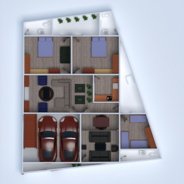 floorplans apartment house terrace furniture bathroom bedroom living room garage kitchen dining room entryway 3d