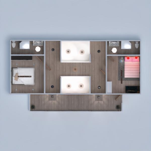 floorplans namas terasa baldai vonia miegamasis svetainė virtuvė apšvietimas prieškambaris 3d