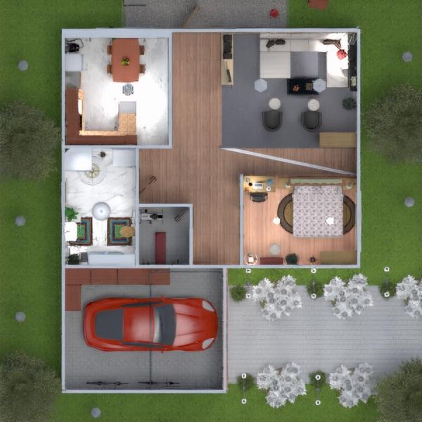 floorplans appartement salle de bains garage cuisine extérieur 3d