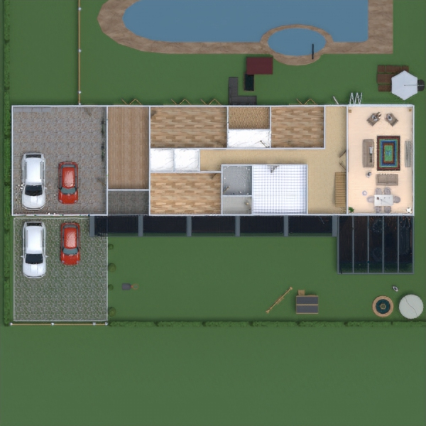floorplans haus terrasse garage outdoor landschaft 3d
