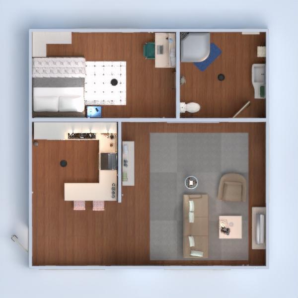 floorplans butas vonia miegamasis svetainė virtuvė 3d