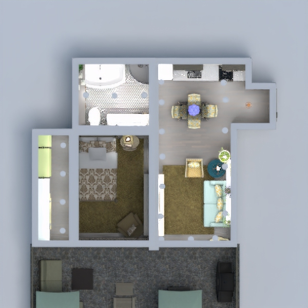 floorplans appartement terrasse décoration 3d