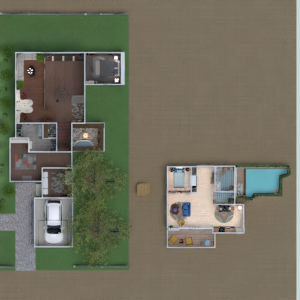 floorplans house terrace furniture living room landscape 3d
