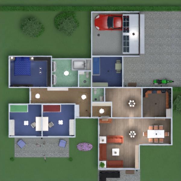 floorplans apartment house terrace kitchen kids room 3d