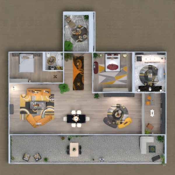 floorplans apartment terrace furniture decor lighting 3d