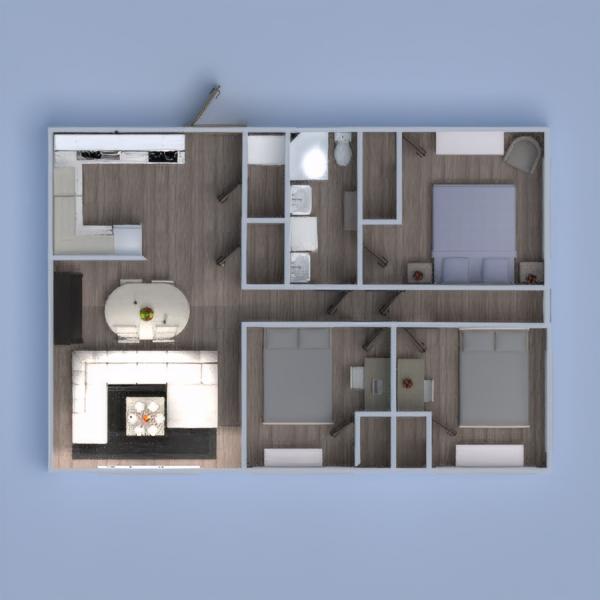 floorplans mieszkanie sypialnia pokój dzienny kuchnia pokój diecięcy 3d