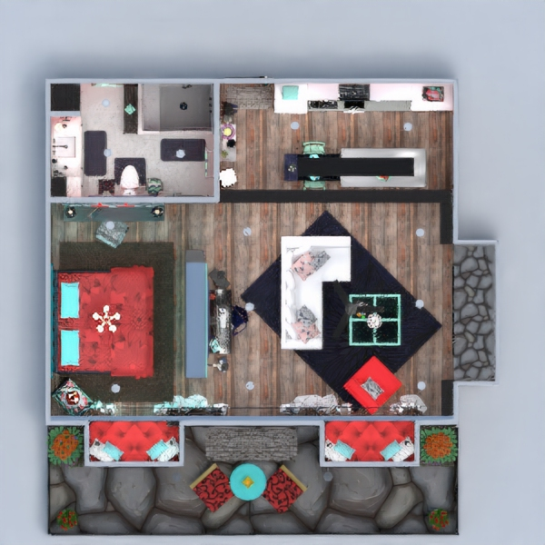 floorplans apartamento decoración 3d