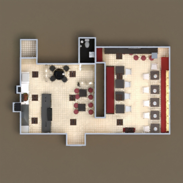 floorplans eclairage rénovation café architecture 3d