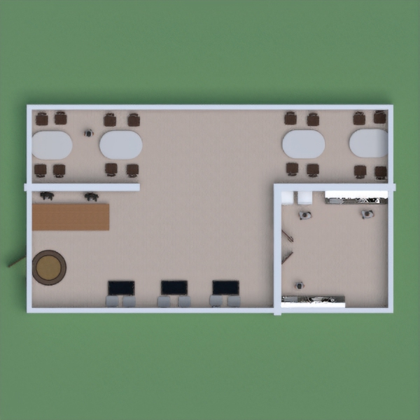 floorplans furniture kitchen cafe 3d