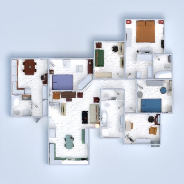 floorplans квартира спальня гостиная кухня столовая 3d