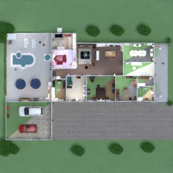 floorplans casa dormitorio salón cocina comedor 3d