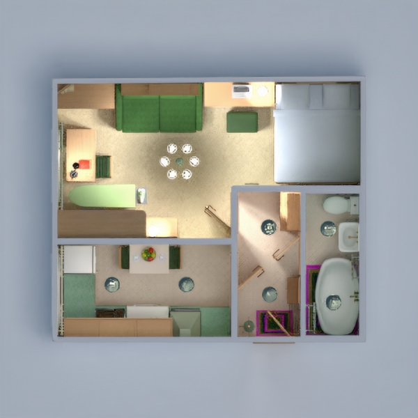 floorplans apartment furniture decor bathroom bedroom living room kitchen lighting household storage entryway 3d