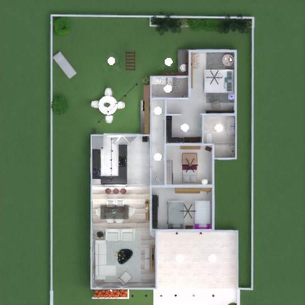 floorplans namas terasa baldai dekoras miegamasis virtuvė apšvietimas kraštovaizdis аrchitektūra prieškambaris 3d