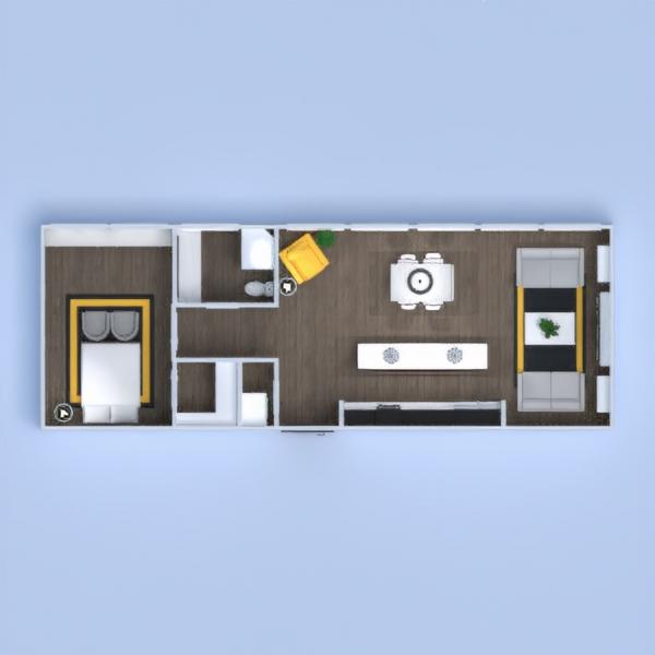 floorplans butas dekoras svetainė virtuvė apšvietimas 3d