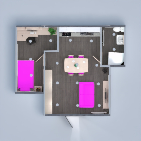 floorplans apartamento muebles decoración cuarto de baño dormitorio salón cocina iluminación comedor trastero descansillo 3d