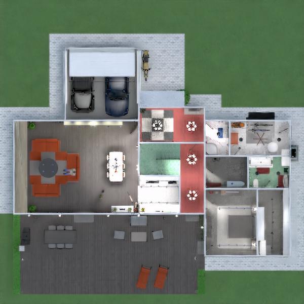 floorplans apartamento casa terraza muebles cuarto de baño dormitorio salón garaje cocina exterior habitación infantil iluminación comedor arquitectura descansillo 3d