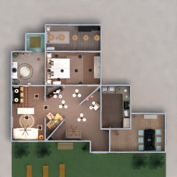 floorplans namas dekoras vonia svetainė virtuvė 3d