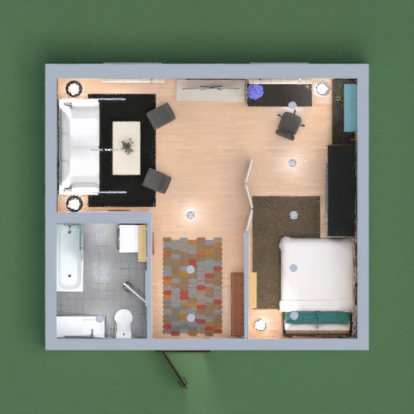 floorplans apartment bedroom lighting studio 3d