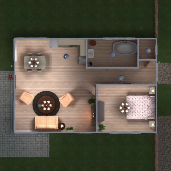 floorplans namas terasa baldai dekoras vonia miegamasis svetainė virtuvė kraštovaizdis 3d