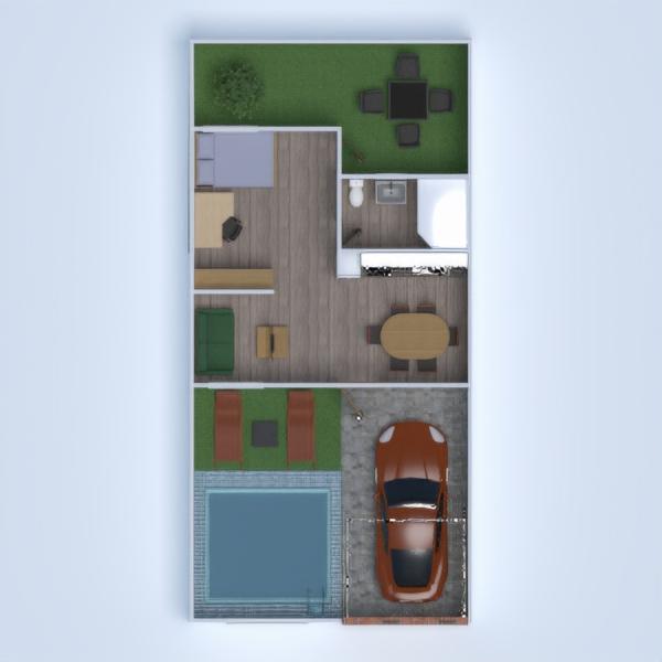 floorplans namas terasa garažas virtuvė valgomasis 3d
